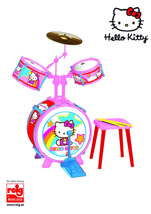 1491  3 DRUMS, DRUMS SET WITH STOOL