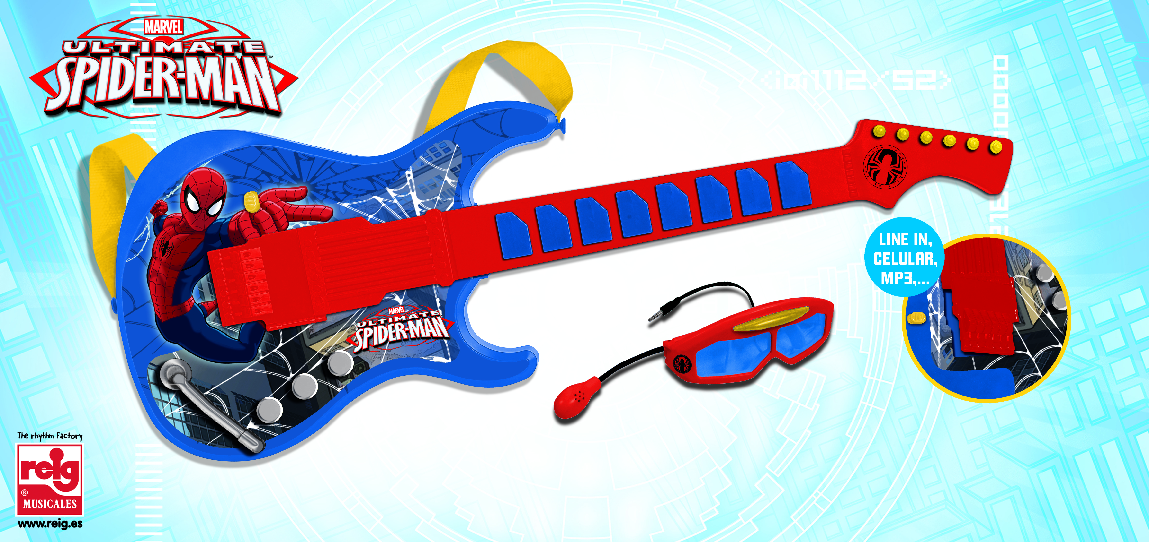557  ELECTRONIC GUITAR WITH GLASSES AND MIC